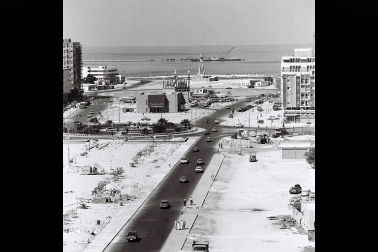 The Corniche end of Airport Road, at the intersection with Al Ittihad Square in the mid-70s. Shaukat Ali Sufi Muhammad / Al Ittihad / The National
