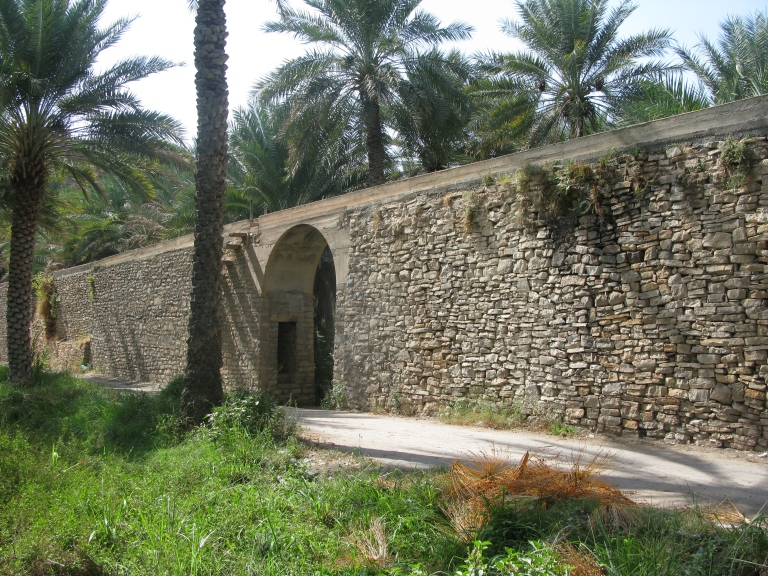 The aqueduct that carries water from the Jebel Al Akhdar to the oasis of Birkat Al Mauz