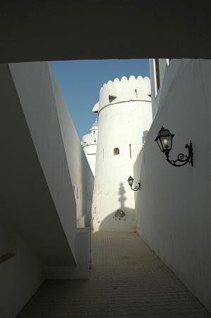 The original burj, believed to date from the 1760s, seen here sandwiched between walls constructed in 19th century (right, rebuilt in the 1980s) and the 1940s (left)