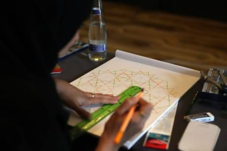 A student on the Journey into Islamic Pattern course, Fatima Al Marzouqi