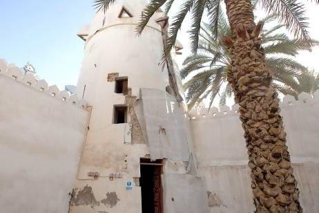 Al Hosn's original burj, showing the kazam, or murder holes, that circumnavigate the tower. Razan Alzayani/The National