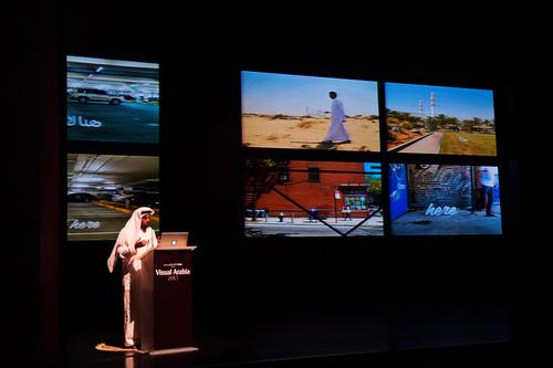 Salem Al Qassimi, founder of Fikra Design Studio, giving a talk on bi-lingual typography at Visual Arabia 2013