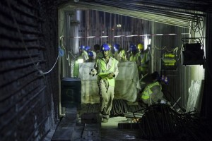 In the height of summer temperatures on the Louvre Abu Dhabi construction site dictate that concrete is poured at night. Silvia Razgova|The National.