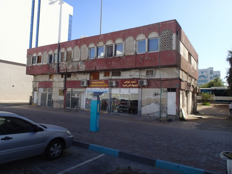 There were once more than a dozen of this type of mixed-use building in Abu Dhabi. This example, on Airport Road, now scheduled for demolition, is one of the last.