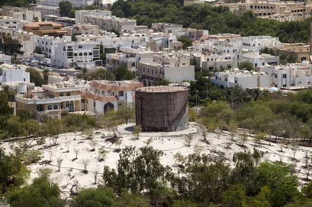 Once a major landmark, the water tank in the Khalidiya area of the capital now stands neglected and decaying. Christopher Pike | The National