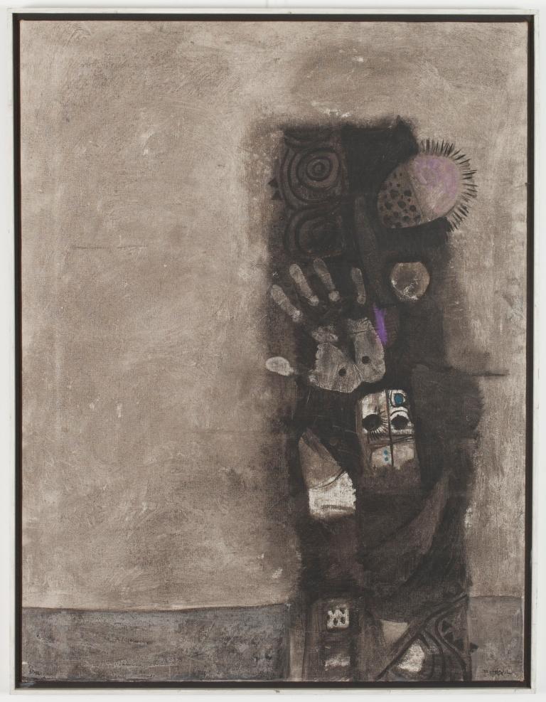 Dia Azzawi, Mask of the Pretenders (1966 oil on canvas 86 x 66.5 cm) Barjeel Art Foundation, Sharjah