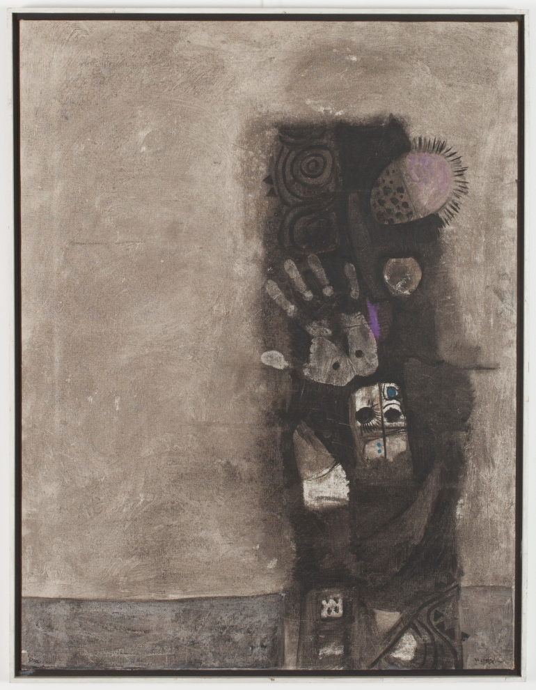Dia Azzawi, Mask of the Pretenders (1966 oil on canvas 86 x 66.5 cm) Barjeel Art Foundation, Sharjah