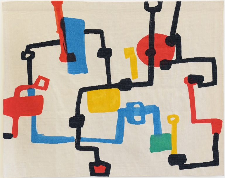 Etel Adnan, Champs de Petrol (Petrol Fields) 2013 Hand-woven wool tapestry (159 x 200 cm) Image courtesy of Sfeir-Semler Gallery / Barjeel Art Foundation, Sharjah