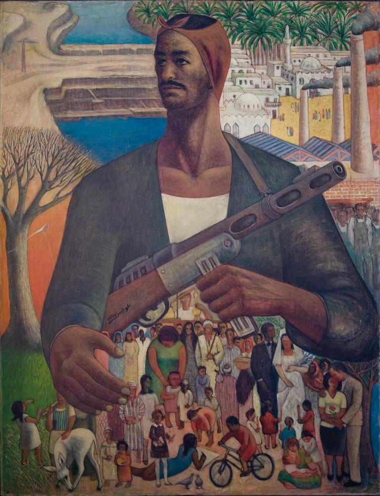 Hamed Ewais, Le Gardien de la Vie (1967 - 1968) Oil on canvas, 132 x 100 cm Image courtesy of Christie's Barjeel Art Foundation, Sharjah