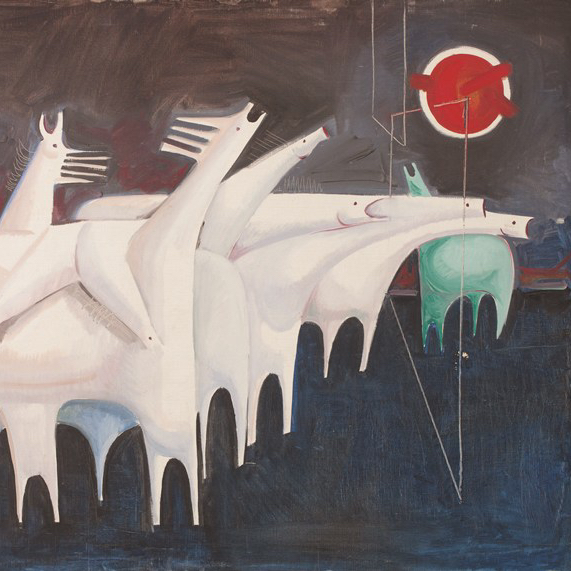 Kadhim Hayder, Fatigued Ten Horses Converse with Nothing (The Martyrs Epic), 1965 oil on canvas, 95 x 130 x 3.5 cm, Barjeel Art Foundation, Sharjah