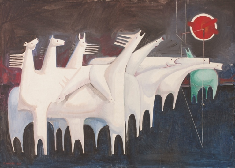 Kadhim Hayder, Fatigued Ten Horses Converse with Nothing (The Martyrs Epic), 1965 oil on canvas, 95 x 130 x 3.5 cm,Barjeel Art Foundation, Sharjah